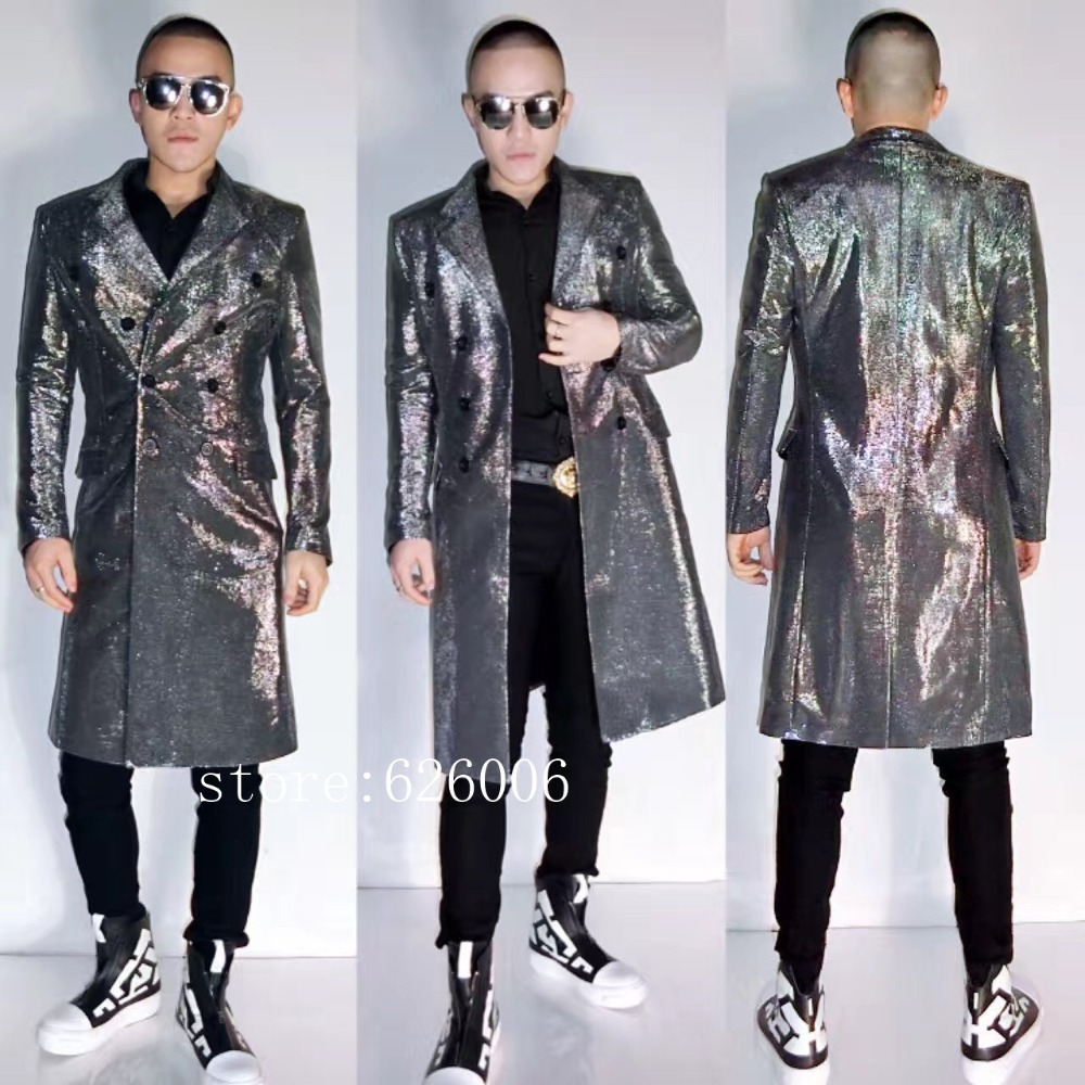 New Fashion Men's Stars Silver Long Suit Jackets costumes Nightclub DJ Male Singer Party show stage performance outwear