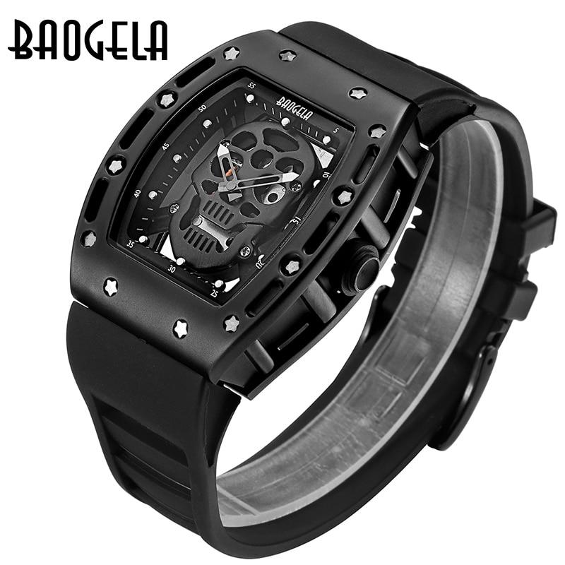 Uhren Männer Baogela Top Marke Mens Silikon Analog Quarz Uhren Mode Militär Wateproof Skelett armbanduhr für Mann 1612