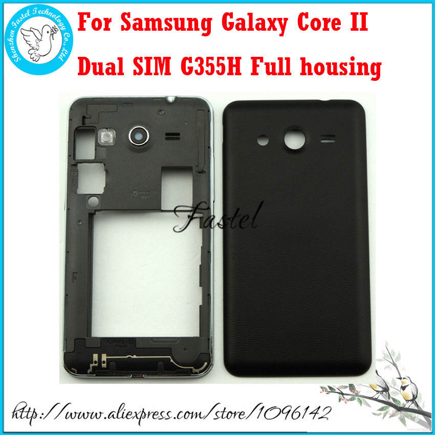 For Samsung Galaxy Core II 2 Dual SIM G355H New Original Phone housing cover case Middle Frame Battery door + Tool Free shipping