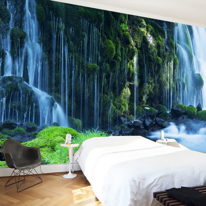 Custom 3d wallpaper classic waterfall nature landscape for Nature wallpaper for bedroom