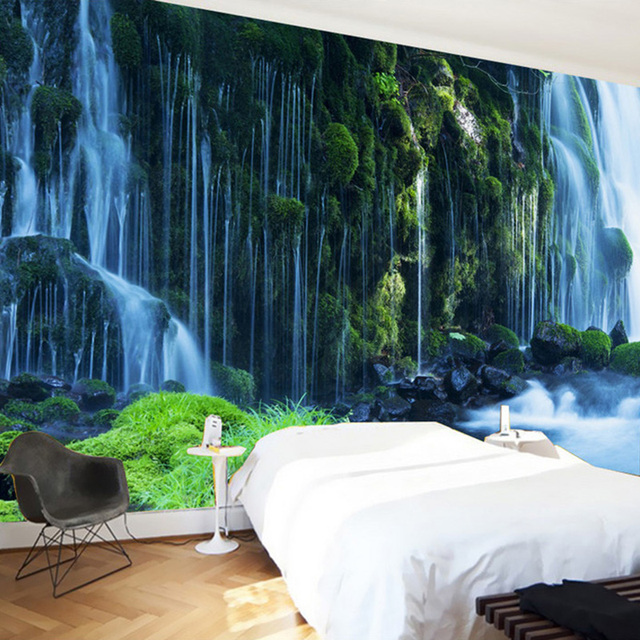 Custom 3D Wallpaper Classic Waterfall Nature Landscape Wall Painting Bedroom  Living Room Home Decoration 3D Wall