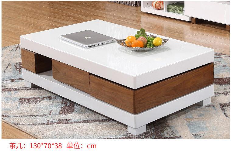 Salon meubles de maison table basse minimaliste style moderne en bois mesas rectangle table basse de salon blanc sehpalar tablo - 4
