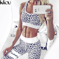 KLiou 2017 Women Fashion Tracksuit Sexy Slim Fitness Vest Crop Top Hoodies High Waist Elastic Pant