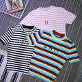 Free Shipping harajuku vintage kawaii kiko turtleneck unif letters embroidery striped t-shirt knitting short sleeve tops
