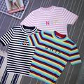 O Envio gratuito de harajuku kawaii do vintage gola letras unif kiko bordado t-shirt listrada de tricô tops de manga curta