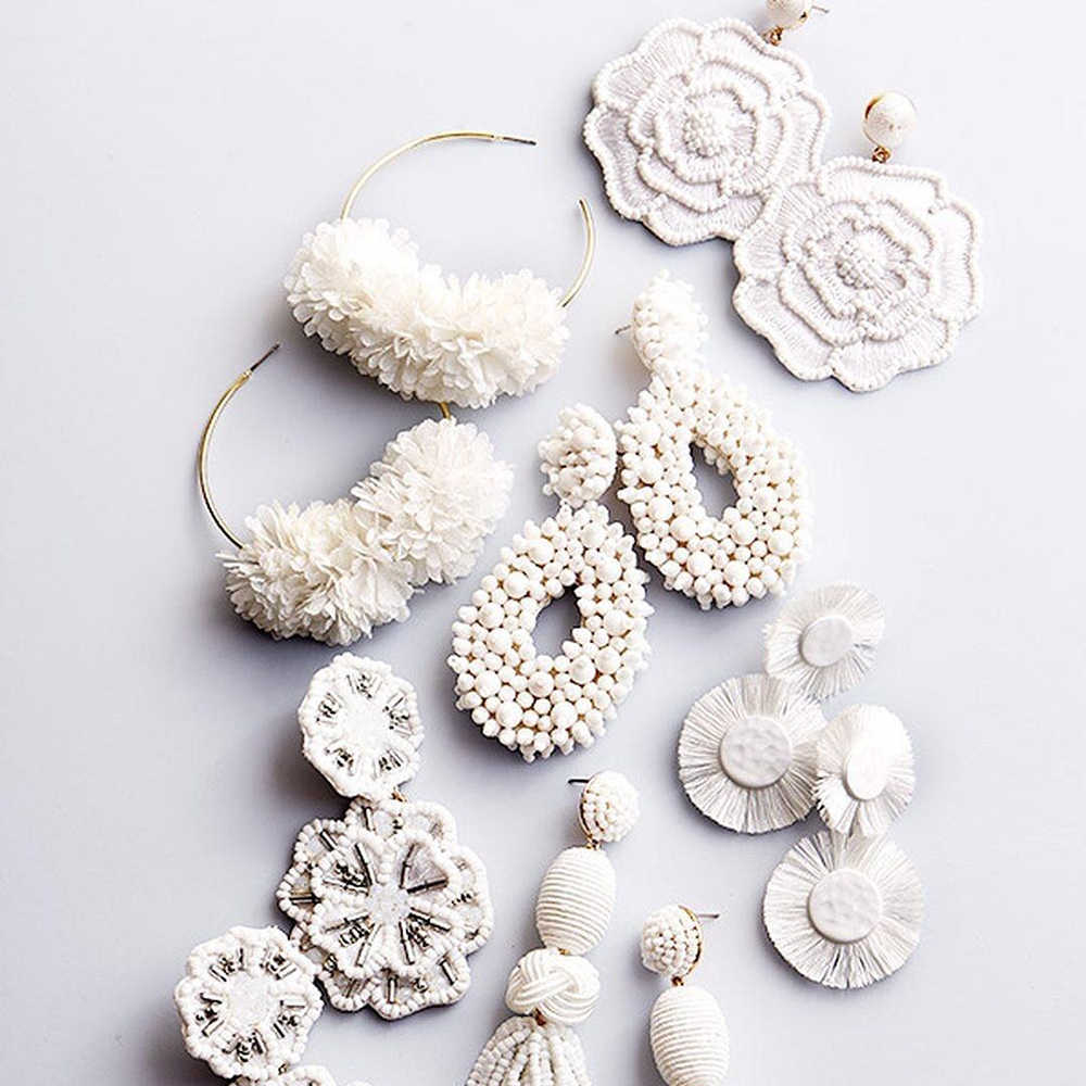 JUJIA Spring White Big Earrings for Women 2019 Trendy Beads Flower Cotton Tassel Fringes Dangle Drop Earrings Wedding Jewelry