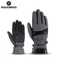 ROCKBROS Thermal Ski Gloves 30 Degree Waterproof Snowmobile Snowboard Glove Snow Men Female Snowboarding Fleece Skiing
