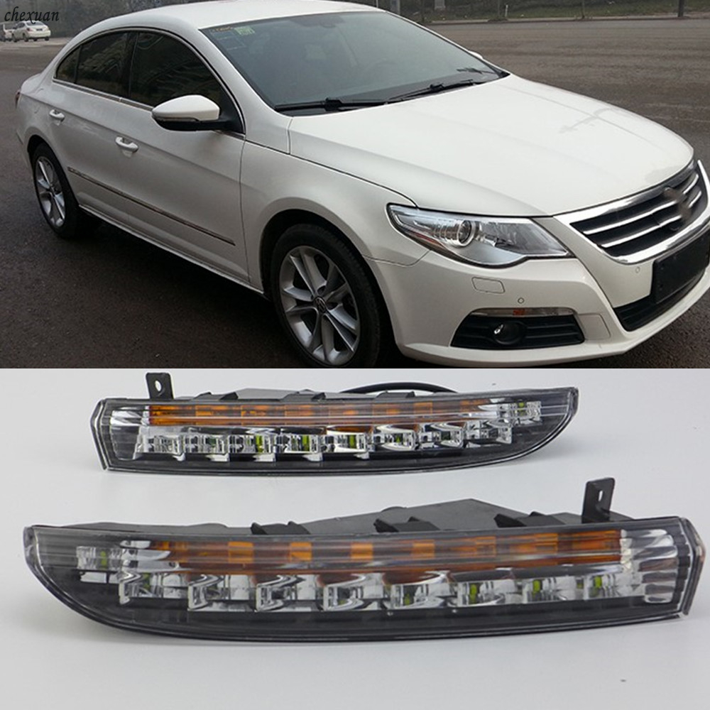 CSCSNL 2PCS LED DRL Daytime Running Lights With Turnnig Yellow Signal Lights  For VW Volkswagen Passat CC 2009 2010 2011 2012