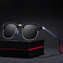 цена на Classic Polarized Sunglasses Men Women Retro Brand Designer Semi Rimless Half Square Frame Sun Glasses UV400 Oculos De Sol