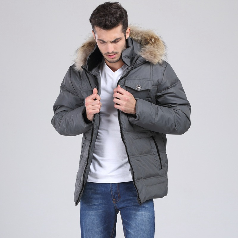 Men's Clothing Brave 2016 Hot Parka Men Mens Down Coat Winter Down Jacket White Duck Down Fur Collar