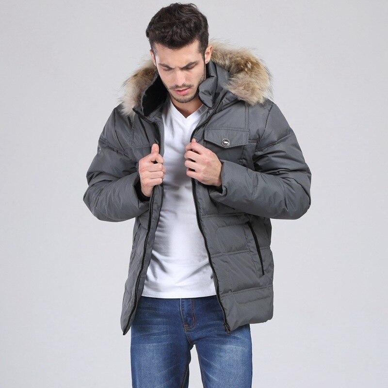 2016 hot parka men Men's   down     coat   winter   down   jacket White duck   down   Fur collar