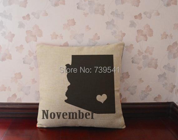 Wholesale Custom Arizona AZ state map pillow personalized state cushion cover linen cotton pillowcase car decor Unique Gift