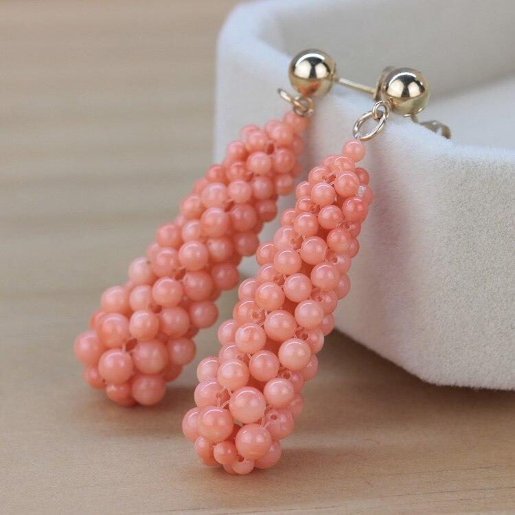 Femmes cadeau mot 925 en argent Sterling réel le nouveau Hongkong tissé à la main perle exquise perle boucles d'oreilles s