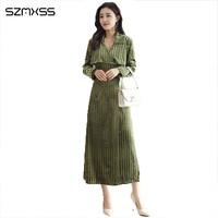 Новые модные темперамент OL женские платья тонкий v образным вырезом длинное платье в полоску с длинными рукавами элегантные высококачестве