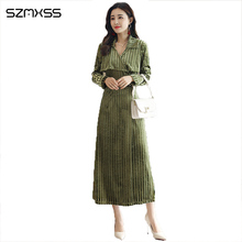 Новые модные темперамент OL женские платья тонкий v-образным вырезом длинное платье в полоску с длинными рукавами элегантные высококачественные литературный платье