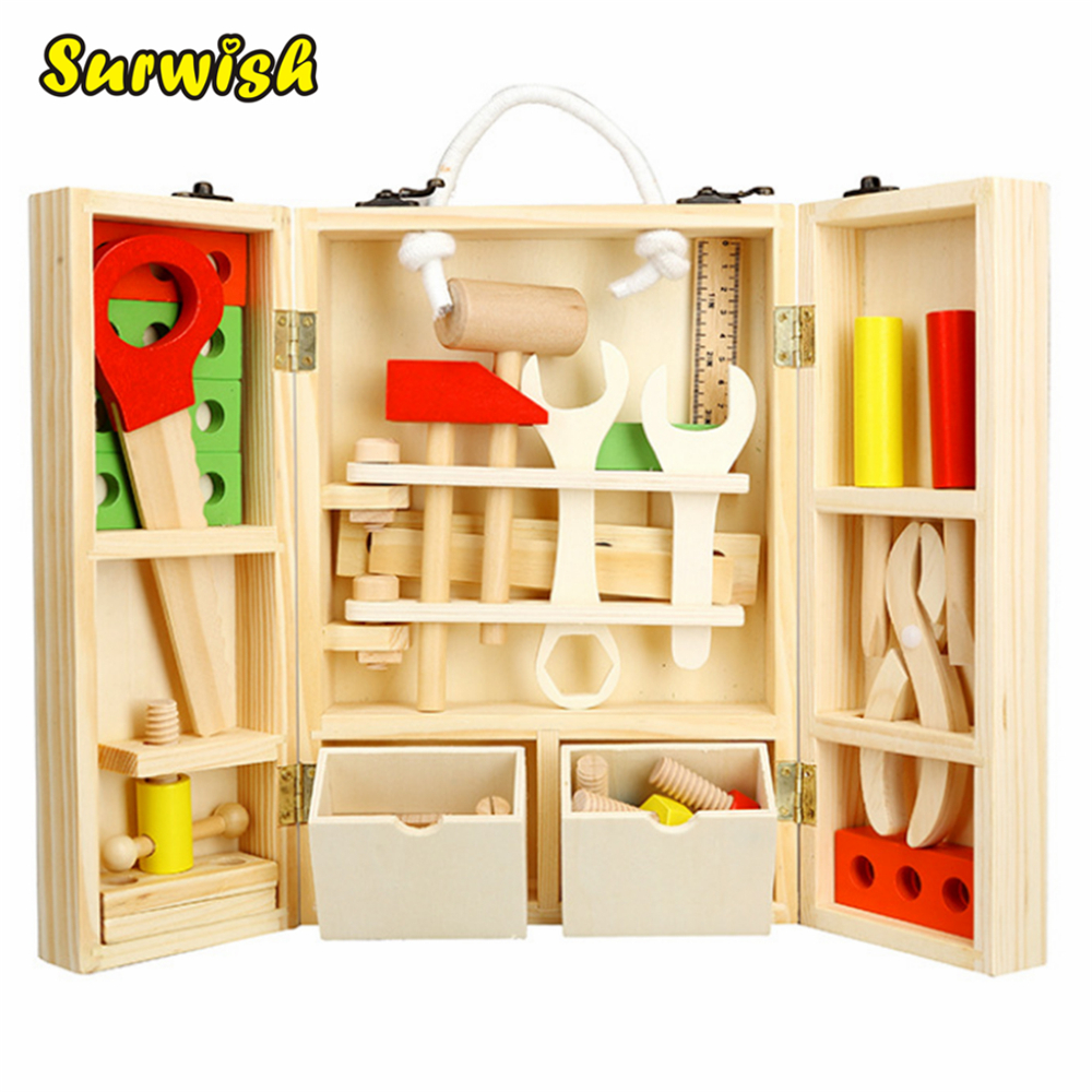 Surwish DIY Portable Educational Simulation Wooden Playing House Toy Set Maintenance Tool Box