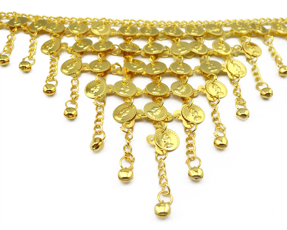 Hot Sale India Tribal Belly Dance Gypsy Gold Sexy Boho Bell Tassel