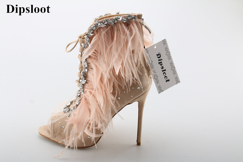 Dipsloot 2018 Sexy Feathers Embellished Stiletto High Heels Dress Shoes Woman Luxury Crystal Open Toe Gladiator Sandals Boots цена