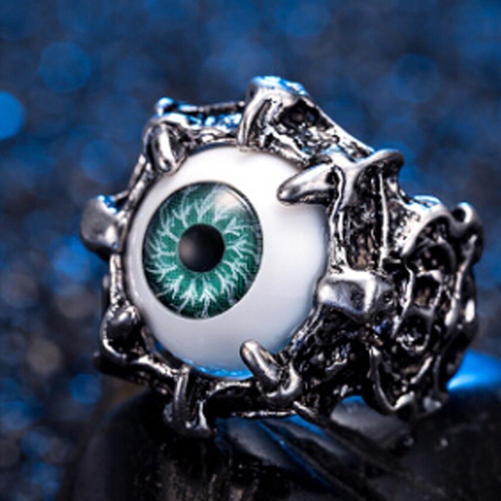 Mens Vintage Dragon Claw Evil Eye Skull Ring Stainless Steel Biker Ring Devil Eyeball Halloween Party Props Men Jewelry