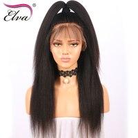 Elva Cheveux 250% Densité 360 Dentelle Frontale Perruque Pré Pincées Crépus droite Brésilienne de Cheveux Humains Perruque Noeuds Blanchis Remy Cheveux 10