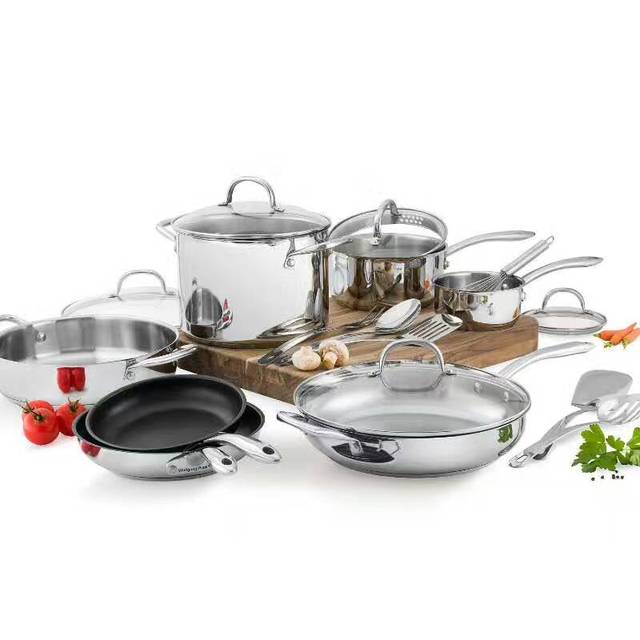 cookware set 18pcs top quality luxury casseroles ss 18 10 inox cooking pans and pots cookware