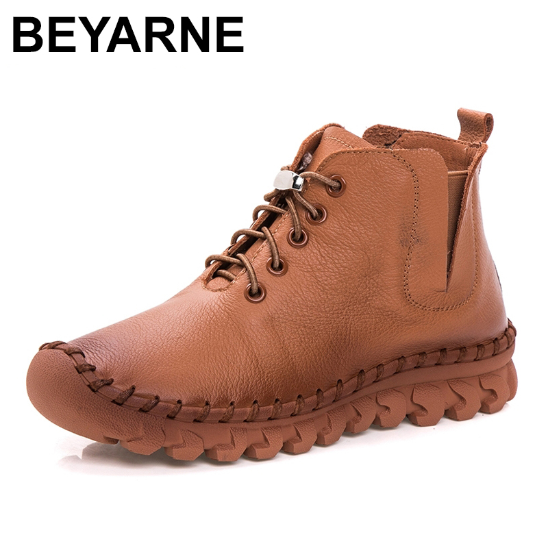 BEYARNE Autumn Winter Women Boots 2018 New Platform Shoes Woman Lace-up Ankle Boots Fashion Casual Genuine Leather Women Shoes bzbfsky fashion 2018 lace up wedges platform casual shoes woman patchwork womens winter spring black white red ankle women boots