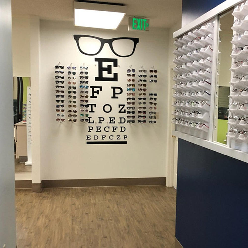 Large Glasses Eye Chart Optical Window Wall Sticker Eye Doctor  Optometry Hipster  Eyewear Specs Frames Glass Wall Decal Vinyl