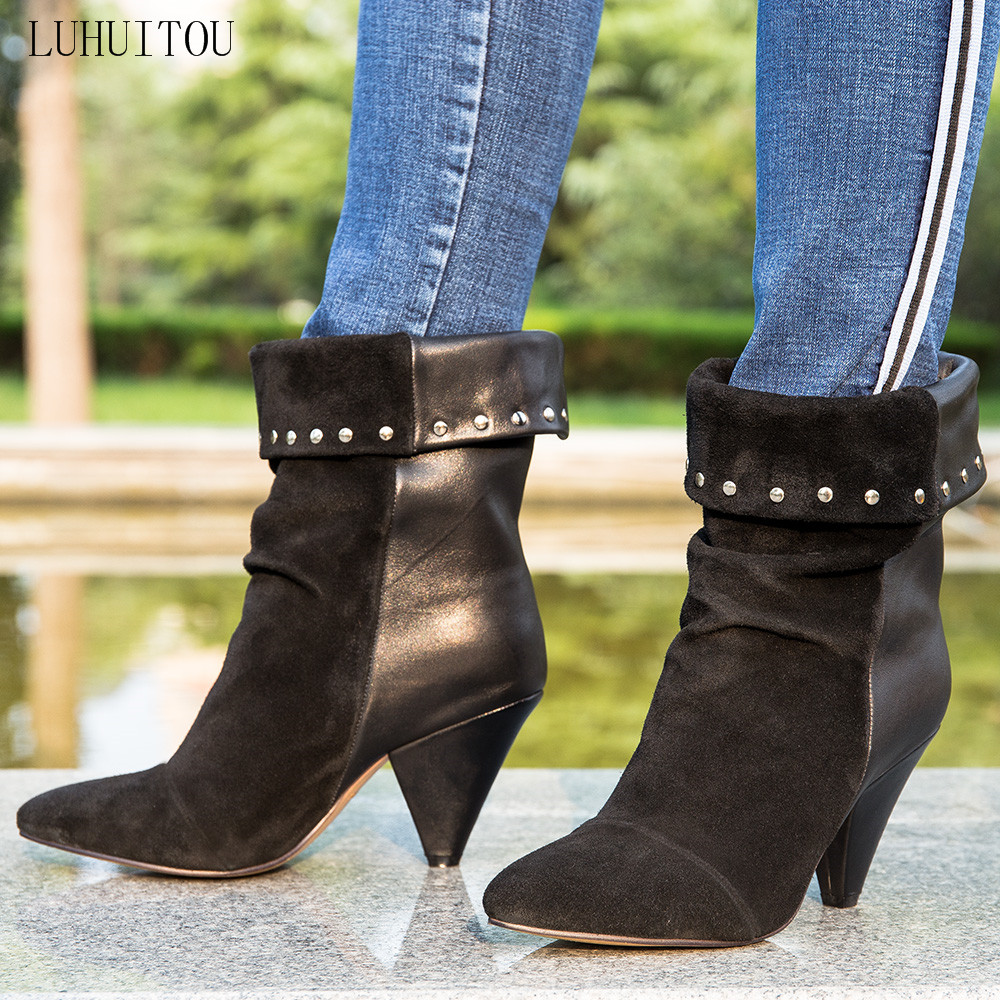 women`s casual winter High-heeled boots Woman autumn suede fringe ankle punk boots fashion genuine leather shoes cowboy boots zobairou hot design suede ankle riding boots women western cowboy shoes woman fashion real genuine leather dicker boots 34 41