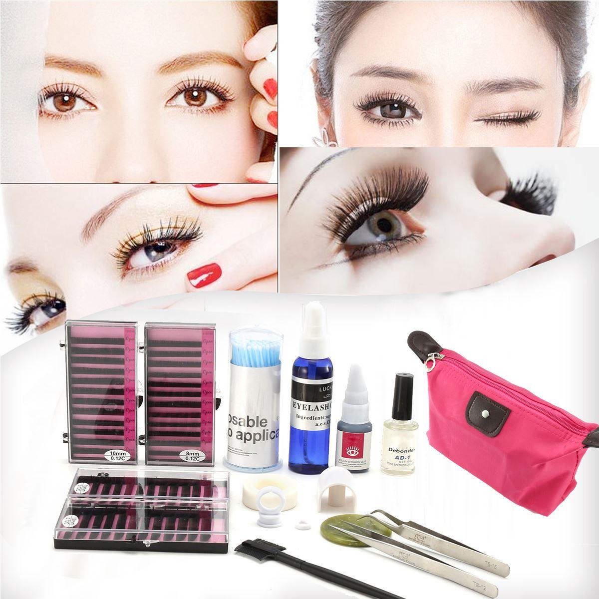 Semi Permanent Make Up Individual Eyelash Extensions C Curl False Eyelashes Glue Remover Tweezers Tape Stick Brush Set With Bag