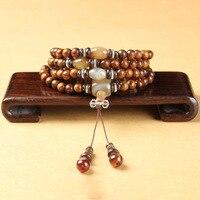 Natural Vietnamese authentic flower pear wood crafts original silk agate article play string bracelet wholesale