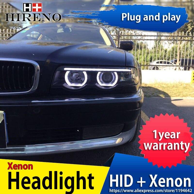 Hireno Headlamp for BMW E38 728 730 735 740 750 1999-02 car Headlight Assembly LED DRL Angel Lens Double Beam HID Xenon 2pcs bmw 735 1999 г в спб