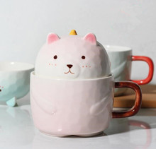 1PC Creative Cartoon Ceramic Mug Bear Shaped Coffee Cups with Lid Handgrip Cute Milk Mugs Home Office Drinkware NQ 007