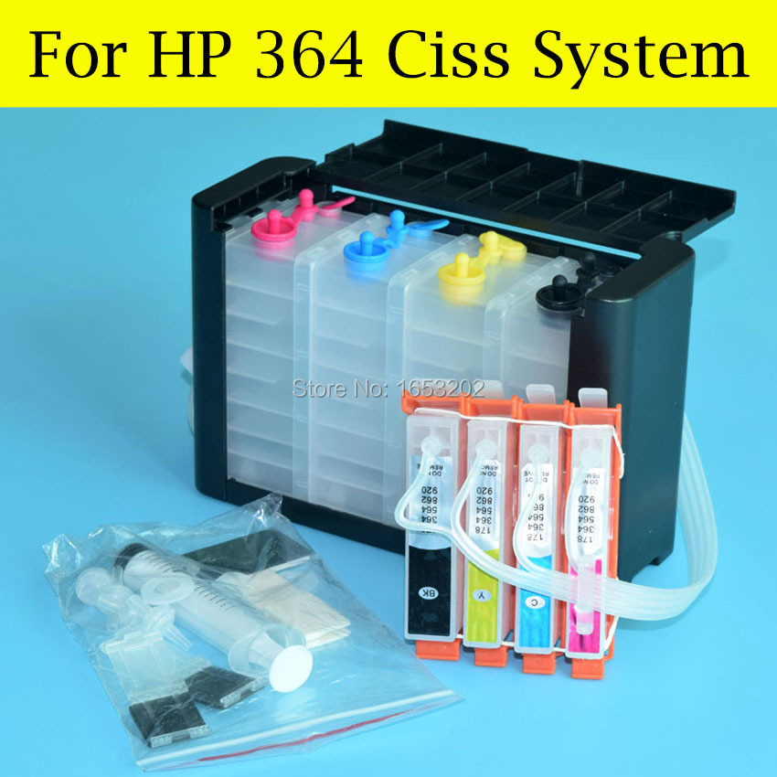 1 Set For HP364 Continuous Ink Supply System For HP 364 3520 3522 3524 4620 4622 5510 5514 5515 Printer With ARC Chip in Continuous Ink Supply System from Computer Office