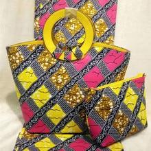 Damas Estilo nigeriano Cera Bolso de Cuero de LA PU Y tela de la Cera Holandés Holanda Conjunto de tela Nueva Tela de la Cera Y de la Mujer de Algodón Conjunto DF-429
