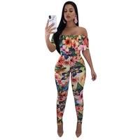 Hot Fashion Floral Print Jumpsuit Women 2018 Ruffles Bodycon Jumpsuit Body Macacao Feminino F8073