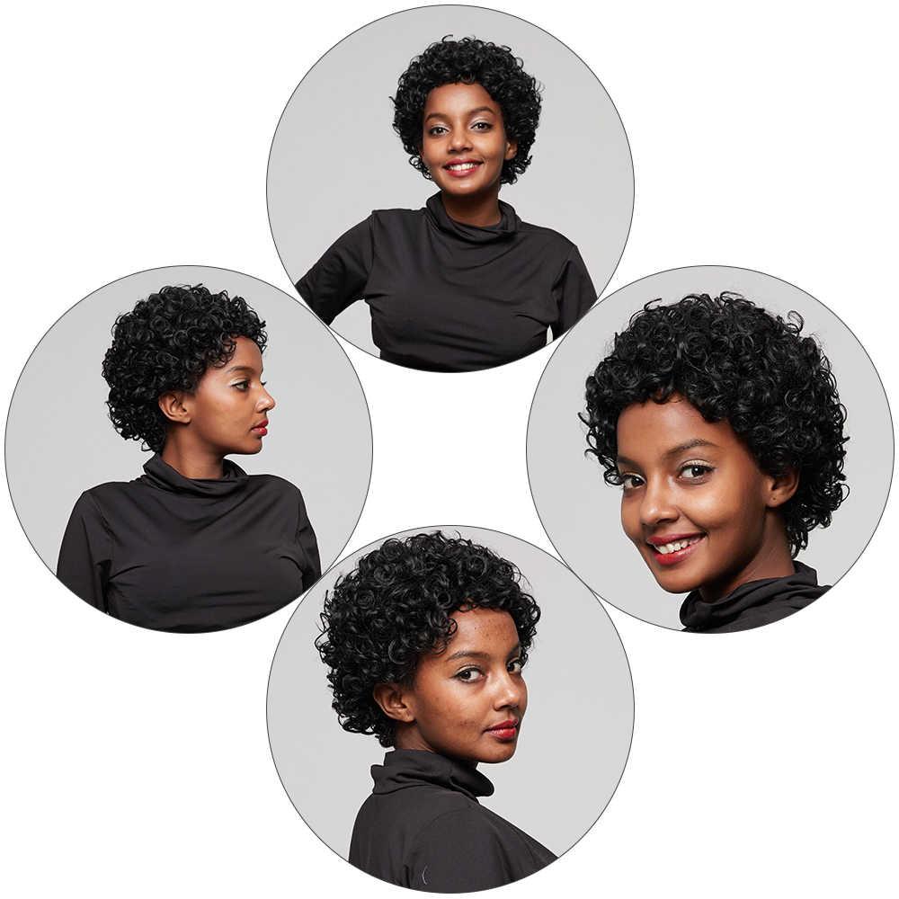 Kiss mee Короткие вьющиеся человеческие волосы парики натуральный цвет короткие кудрявые боб парики для черных женщин Remy бразильские афро курчавые кучерявые парики
