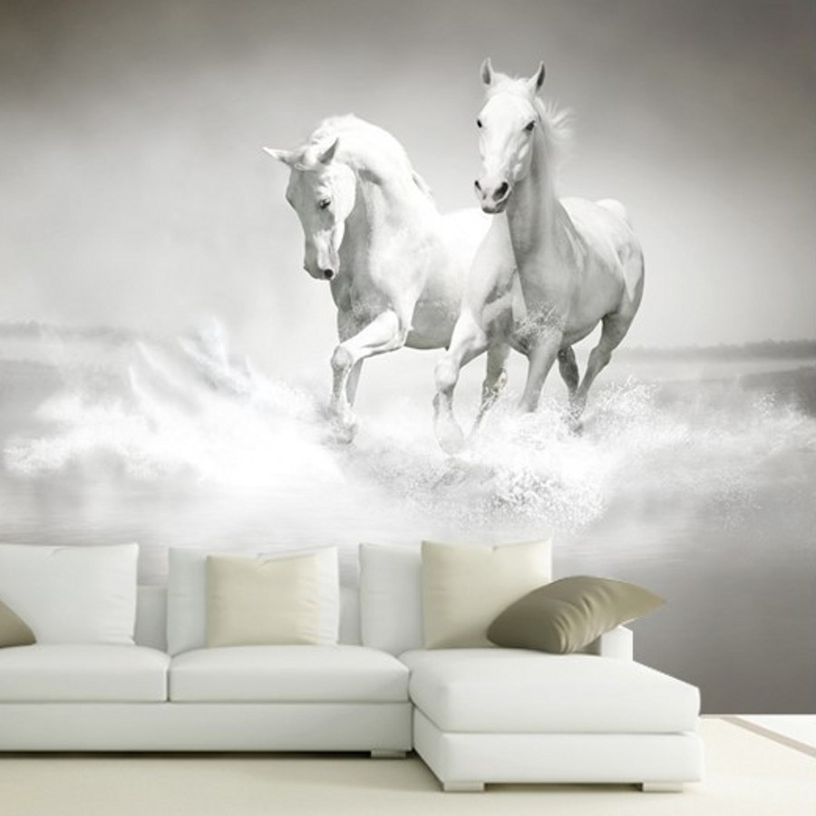 beibehang wallpaper for walls 3 d White Horse large mural Continental back  wall sofa bedroom TV