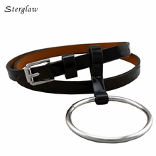 100cm Sale Top Adult Pu 2017 Classic Designer Personality Big Ring Buckle Thin Belts For Women Leather And Straps Female F131