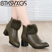 BTKSYXGS 2017 Women S Boots 100 Genuine Leather Tide Fashion Luxury Rabbit Fur Winter 35 43