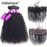 AliBarbara Hair Brazilian Kinky Curly Human Hair Frontal With Bundles Remy 13X4 lace frontal with 3Bundles hair weaves extension