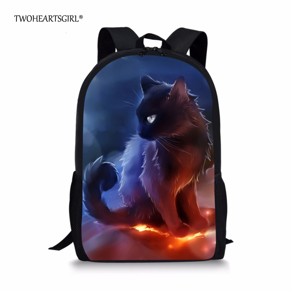 Twoheartsgirl Cute Print Cartoon Cat School Bag for Girls Junior Middle School Kids Schoolbag Hipster Children Bookbags