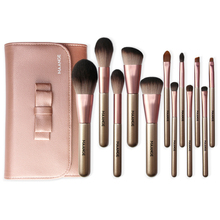 12Pcs Professional Cosmetic Makeup Brush Set Eyeshadow Foundation Blush Brushes with Case 120 vivid charming colors eyeshadow with gold leather clutch bag shaped case professional makeup kit cosmetic set