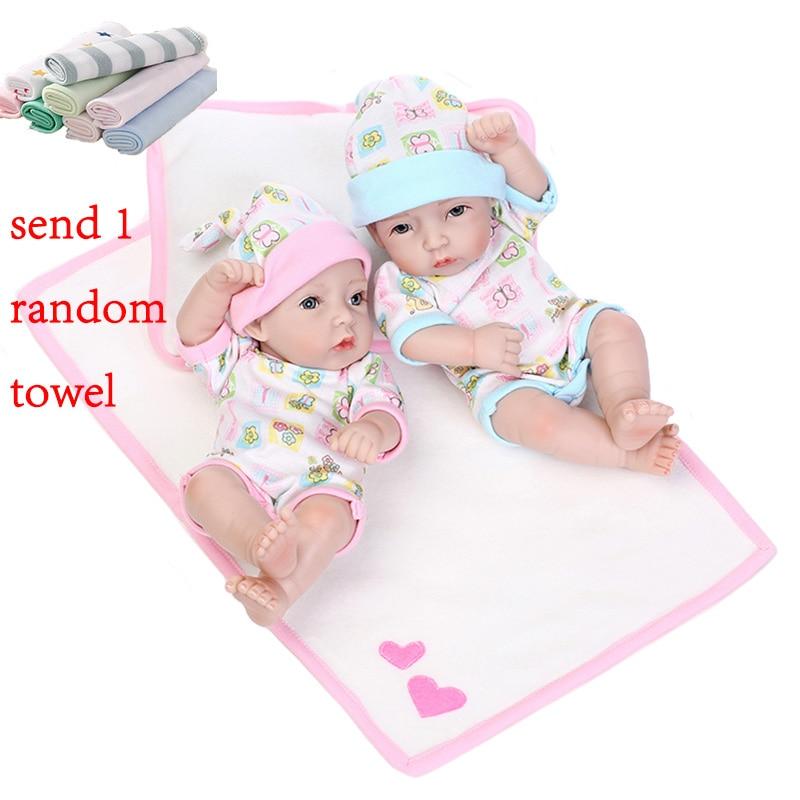 NPK 28 cm Reborn bébé Silicone poupées jumeaux poupée réaliste bébé Reborn tout-petits Simulation douce bébé poupée jouets cadeaux pour enfants