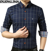 DUDALINA Striped Pocket Men Clothes Slim Fit Men Long Sleeve Shirt Men Polka Dot Casual Men