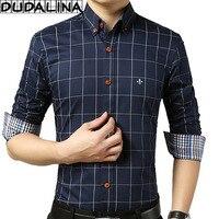 DUDALINA 스트라이프 포켓 남성 의류 슬림핏 남성 긴 소매 셔츠 남성 폴카 캐주얼 남성 셔츠 사회 플러스 사이즈 M-5XL