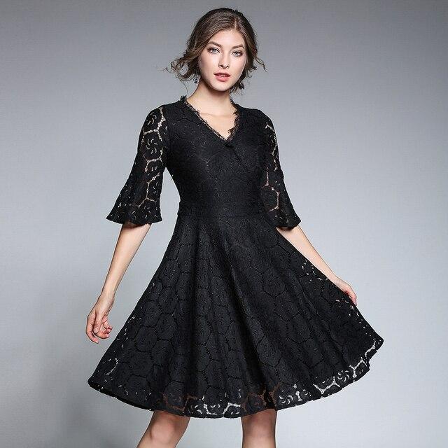 Autumn New Black Lace Dress Women Flare Sleeve Dresses Feminino Plus