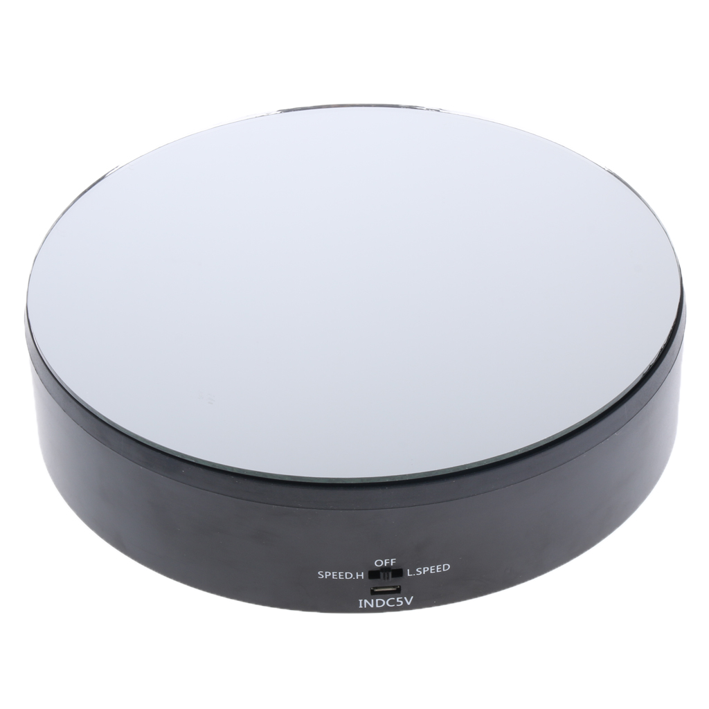 Electric Rotating Display Stand Motorized Mirrored Display Turntable Black For Jewelry Watches Collectibles
