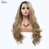 Sylvia блондинка парик объемная волна Новый Длинные Синтетические волосы женщины девушка Замена короткие темные корни до блонд кружева перед ...