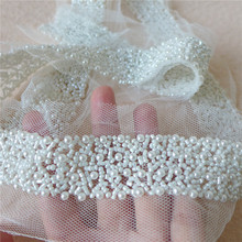 Ivory Pearl Beaded Lace Ribbon Trim Netting Lace Fabric Mesh Fabric Beading Trim For Jewelry Headpiece, Costume, Sash Belt недорого