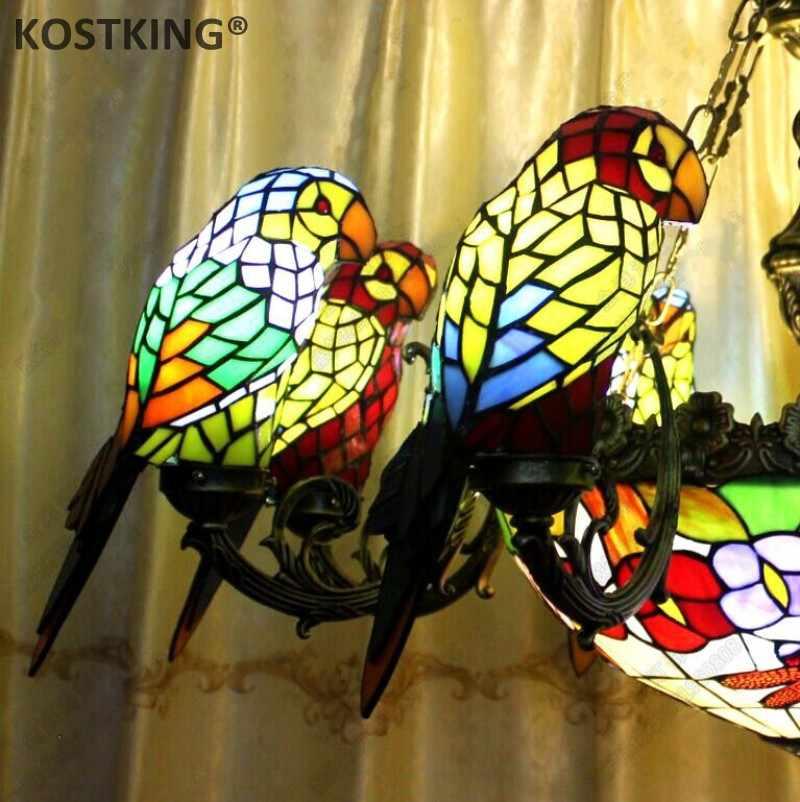 Hand-made Glass Lampshade Parrot Birds Chandeliers Lights for Living Room Art Deco Tiffany Lamp Indoor Lighting Fixtures